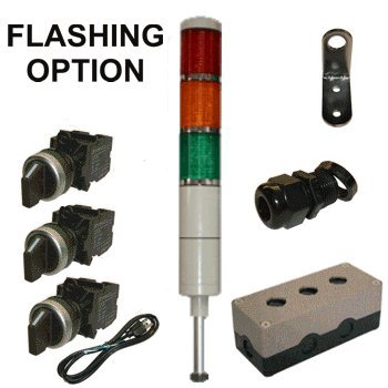 LED Tower Light Station Kit, LED Andon Light Kit KT-5213-101, LED Stacklight Kit, Flashing Capable, 120V, Red/Yellow/Green, 2 Pos Off/Steady OR Off/Flashing