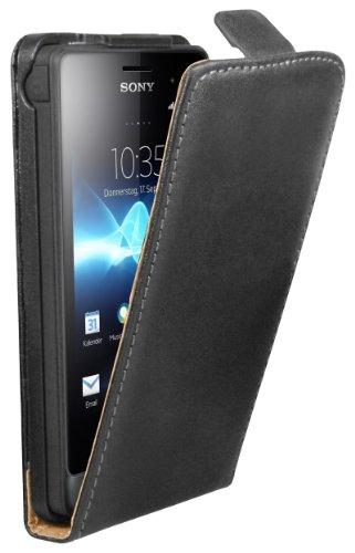 mumbi Tasche Flip Case kompatibel mit Sony Xperia Go Hülle Handytasche Case Wallet, schwarz