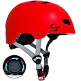 UniqueFit Caschi regolabili per Bambini e Ragazzi, per Scooter, Skateboard, Rollerblade (Red, Large:58-61cm/22.8'-24.0')