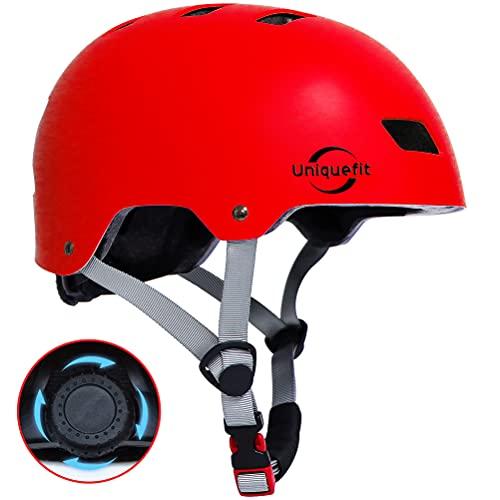"""UniqueFit Caschi regolabili per Bambini e Ragazzi, per Scooter, Skateboard, Rollerblade (Red, Large:58-61cm/22.8""""-24.0"""")"""
