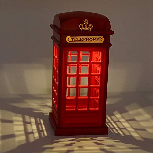 Haokaini Retro London Teléfono Cabina de Carga USB Luz de Noche Led Dimmable Sensor Táctil Mesa Lámpara de Escritorio Luz de Cabecera para Dormitorio Decoración del Hogar Regalo de