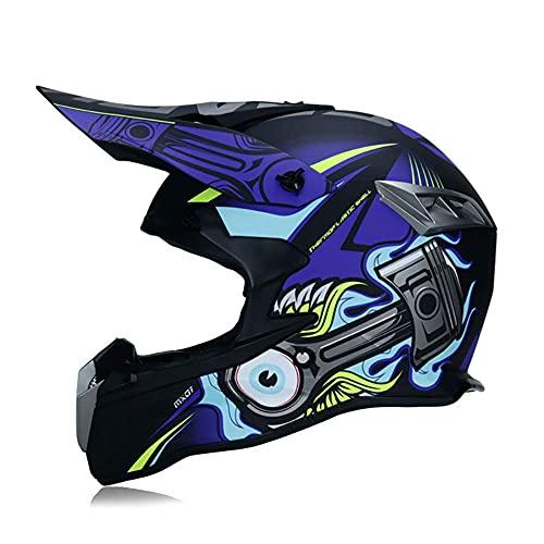 Casco de Motocross para Motocicleta para Adultos, Casco de Motocicleta Todoterreno para niños, Casco de Quad de Descenso de ATV para Hombres y Mujeres con Gafas, máscara, Guantes, Casco de c