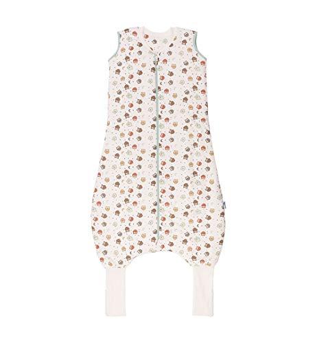 Schlummersack Schlafsack mit Füßen Vierjahreszeiten in 2.5 Tog mit verlängerten Fußbündchen zum Umklappen- Eule - 110 cm