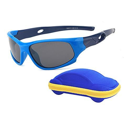 Lunettes de Soleil Enfant Sport Polarisées Incassable Garçon et Fille (3-12 ans) + Cordons à lunettes + Étui à Lunettes