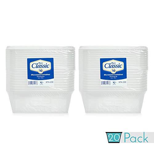 Lot de 20 récipients alimentaires en plastique avec couvercles 750 ml | Récipients alimentaires avec couvercles ~ Passe au micro-ondes, congélateur et lave-vaisselle ~ Durable ~ Transparent