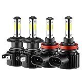 Nrpfell 4 Piezas Combo H11 + H7 Kit de Bombillas LED de 4 Lados para Faros Delanteros, Haz Alto y Bajo, Superbrillante, 6000 K, Blanco de XenóN