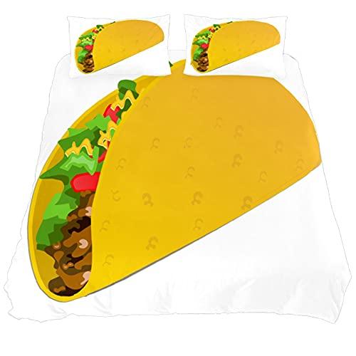 N\O Taco Wrap Food - Juego de ropa de cama mexicana transpirable, 3 piezas, juego de funda de edredón (1 funda de edredón + 2 fundas de almohada), microfibra ultra suave (no incluye edredón)
