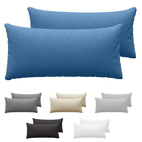 Dreamzie Juego de 2 x Fundas de Almohada 40x80 cm Azul 100% Algodon Jersey - Funda de Almohada Algodon 40x80 - Funda Cojin para Cama 40x80 - Protector de Almohada