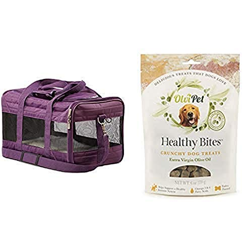 Sherpa Travel Original Deluxe Airline Approved Pet Carrier, Medium, Plum and OlviPet Healthy Bites Crunchy Treats