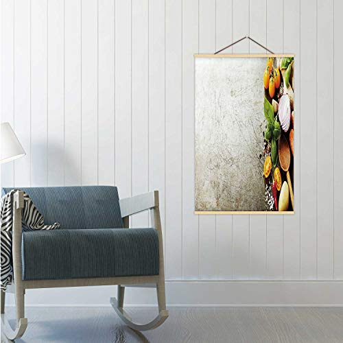 Hitecera Wooden Spoon and Fresh Organic Vegetables on Old Background Cooking,Poster Frames Backgrounds Poster Board 24x35in(WxH)