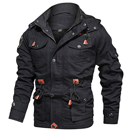 CARWORNIC Men's Winter Warm Military Jacket Thicken Windbreaker Cotton Cargo Parka Coat with Removable Hood Black