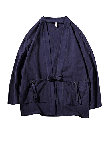 Zhhlinyuan Männer Lange Ärmel Chinesischer Tang Anzug Hanfu Japanisch Kimono Jahrgang Robe Strickjacke Sommer