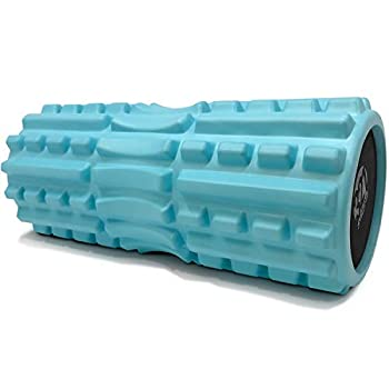 321 STRONG Foam Roller - Extra Firm High Density Deep Tissue Massager with Spinal Channel for Muscle Massage and Myofascial Trigger Point Release with 4K eBook - Aqua