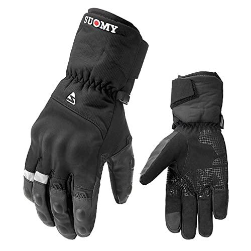 Guantes de Invierno para Motocicleta, Guantes Impermeables para Motocross, Guantes para Moto a Prueba de Viento, Guantes para Montar en Moto con Pantalla táctil-SU07-Black-1-XL