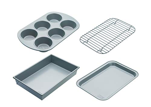 Chicago Metallic CMET8044 Compact Set with Non Stick Tin, Cupcake, Baking Tray and Roasting Rack