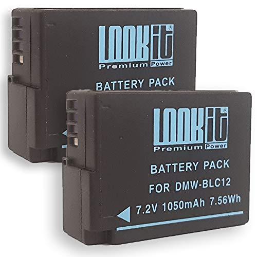 2X LOOKit Akku BLC12 E - 1050mAh kompatibel für Panasonic Lumix G91 FZ2000 FZ1000 II G81 FZ300 FZ1000 G6M GX8M GX8 G70