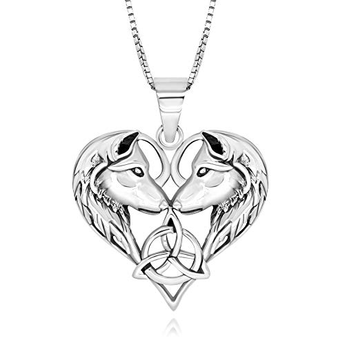 925 Sterling Silver Celtic Love Couple Wolf Heart Pendant Necklace 18'