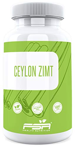 Ceylon Zimt 120 Kapseln, 500 mg pro Kapsel, aus echter Ceylon-Zimtrinde, Vegan - Hergestellt in Deutschland - FSA Nutrition