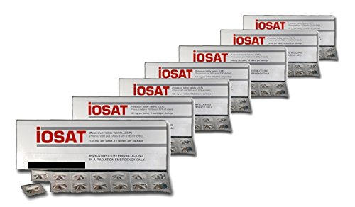 IOSAT Potassium Iodide Tablets, 130 Mg (14 Tablets Each) - Sept 2024 Expiration - 10 Packs - 24.2 ounces