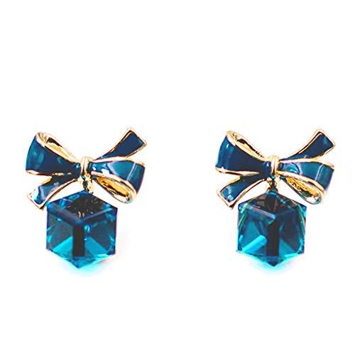 FugiftCrystal Blue Bow Cube Pendientes Bowtie Stud Pendientes para mujer Joyería de moda