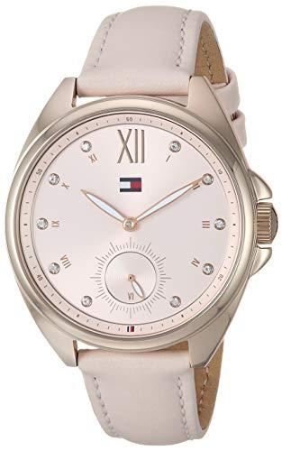 Tommy Hilfiger Relógio feminino casual de quartzo de aço inoxidável com pulseira de couro, rosa, 16 (modelo: 1781992)