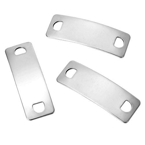 YF 15 piezas de acero inoxidable opaco tono plateado ID Tag Connector para hacer joyas DIY 42mmx14mm