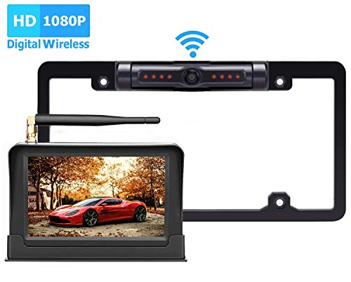 Yakry HD 1080P Digital Wireless Backup Camera System Kit For Pickups,Trucks,Motorhomes,Campers,RVs 5'' Monitor Rear/Front View Reverse/Continuous Use High-Speed Observation System Guide Lines ON/OFF