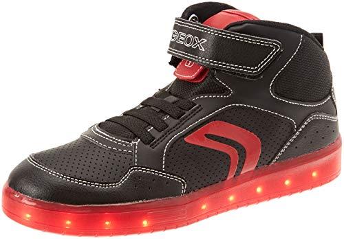 Geox Jungen J KOMMODOR Boy C Hohe Sneaker, Schwarz (Black/Red C0048), 34 EU