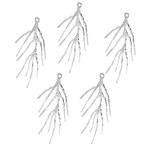 Bonarty Elegante Collar Gargantilla Colgante Cadena Hoja Rama árbol Mujeres Joyería de Bricolaje - Plata, Individual