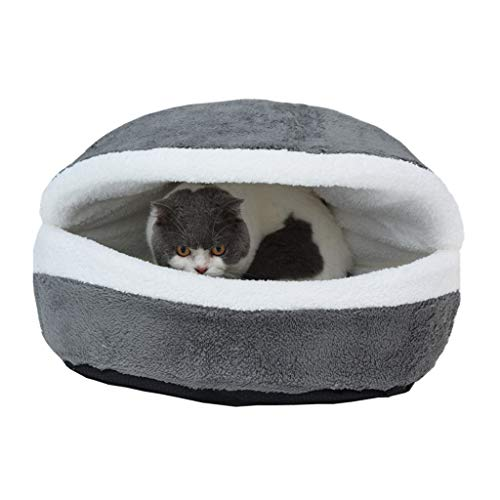 Pet Nest Soft & Cute Hamburger Bed Cat Kitty Puppy Pet Nest Shell Cover House Removable Windproof Winter Warm