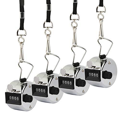 ZoomSky 4 Set Contador de 4 digitos visitas con 4 Cuerdas de clics mecánico de Cuenta de Contador pequeño Manual de Contador métalico para Trabajo, Contar células, Personas