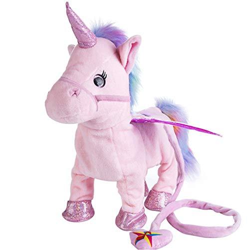 Zingende En Wandelende Paard Knuffels, Elektronische Paarden Knuffels Robot, Verjaardag Kerstcadeau Voor Kinderen Kinderen 35Cm (Roze)