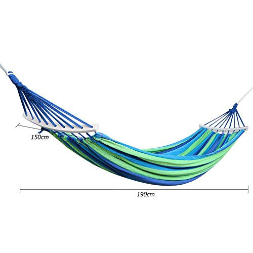 Gifftiy Hammock Swing With Stand Hammock With Spreader Bar Hammock Hanging Rope Chair Swing Chair Seat With 2 Pillows Travel Camping Hammock Swing Bed For Indoor Outdoor Garden-190X150Cm_Green
