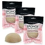 NUTRISENSIS | Esponja Konjac para cara orgánica | Cuidado facial | Juego de 3 esponjas | Esponja vegetal natural limpiador y exfoliante
