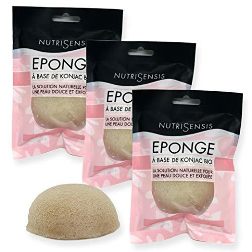 NUTRISENSIS | Eponge Konjac visage Bio | Soin pour le visage |Lot de 3 éponges | Eponge végétale naturelle nettoyant et exfoliante