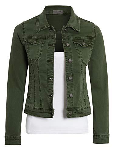 SS7 Womens Fitted Denim Jacket Khaki Size 8 10 12 14 16 (8, Khaki Dark)