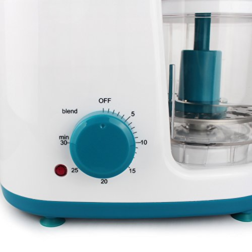 Leogreen – Baby-Küchenmaschine, Mixer für Babynahrung, Weiß/Blau, Funktion: 2 in 1 Dampfgarer und Mixer, Spannung: 220-240 V - 5
