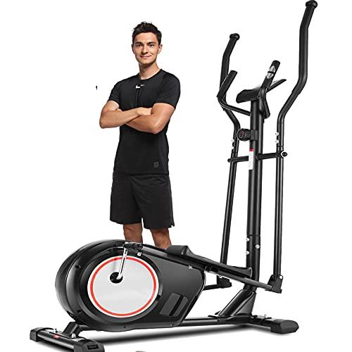 ANCHEER APP Crosstrainer, Ellipsentrainer mit 8 Magnetwiderstandsstufen 170KG Gewichtskapazität für den Heim-Cardio-Einsatz (schwarz)