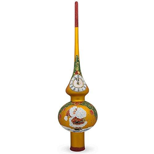 BESTPYSANKY Santa Claus Mistletoe Clock Orange Glass Christmas Tree Topper 11 Inches
