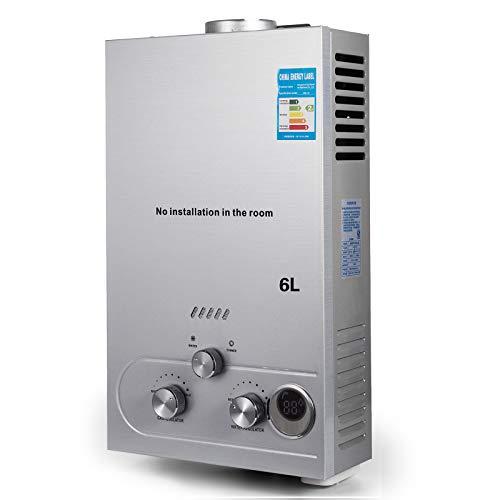 VEVOR Scaldabagno A Gas Liquefatto Scaldabagno A Gas LPG Con Digitale LCD Scaldabagno Automatico E Rapidamente (6L)