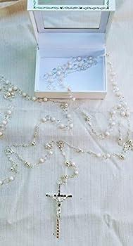 Silver and Pearls Beads Wedding Lasso with Silver Cross Decorated with Crystals Lasso para Boda En Color Plateado Perlas Blancas Gift Favor Laso Mancuerna with Gift Box
