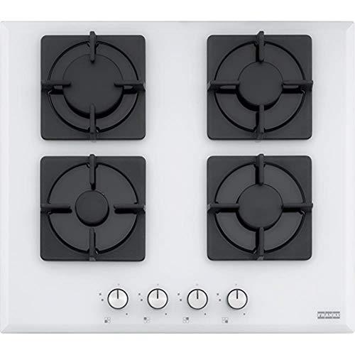 Franke FHNS 604 4G WH C integriertes Gaskochfeld weiß – Kochfeld (Gasherd, Glas, Weiß, Gusseisen, 1000 W)