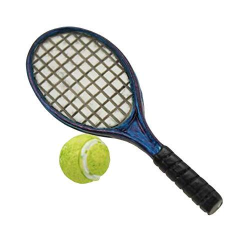 Vektenxi Mini - Raqueta de tenis de simulación (escala 1:6, 1:12, accesorios para casa de muñecas, color azul, duradero y útil