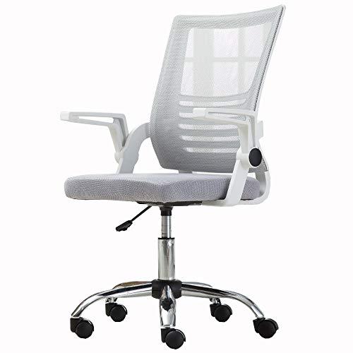 Jiayuan - Sedie per videogiochi, per casa e ufficio, in rete traspirante, con corrimano girevole, peso 150 kg grigio