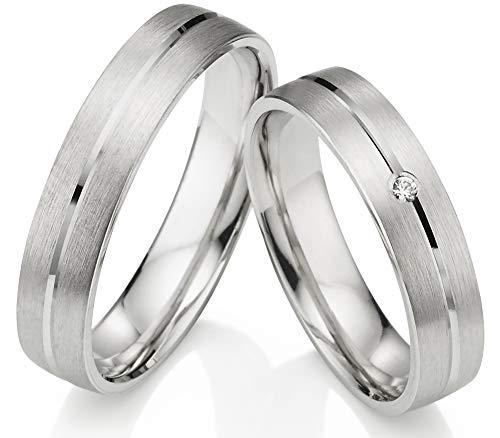 123traumringe 2x Trauringe/Eheringe Silber 925 in Juwelier-Qualität (Zirkonia/Gravur/Ringmaßband/Etui/Nickelfrei)