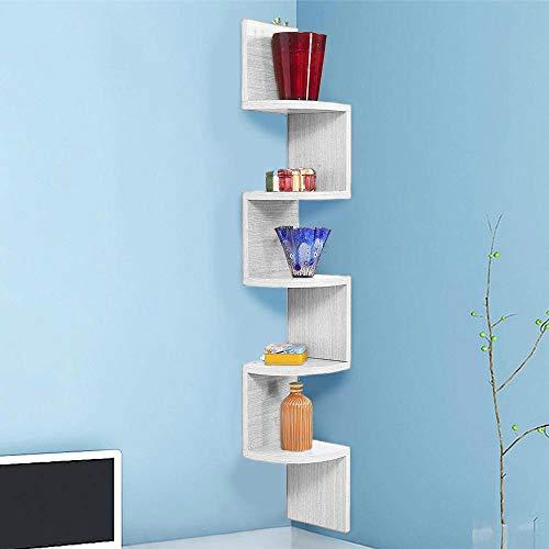BAKAJI Libreria Scaffale Mensole da Parete Angolare Design Moderno in Legno Melaminico con 5 Ripiani ad Angolo Dimensioni 123 x 20 cm (Bianco Legno)