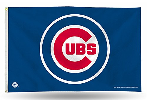MLB Chicago Cubs Logo (On Blue) 3-Foot by 5-Foot Banner Flag