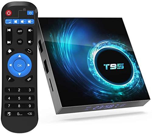Android tv Box,T95 Android 10.0 tv Box Allwinner H616 Quadcore 4GB RAM 128GB ROM Mali-G31 MP2 GPU Support 6K 3D 1080P 2.4/5.0GHz Dual WiFi 10/100M Ethernet BT 5.0 DLNA HDMI 2.0 H.265 Smart TV Box