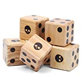 Lavievert Giant Wooden Playing Dice Set - Includes 6 Dice, Dry-Erase Scoreboard, Marker Pen and Drawstring Bag