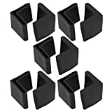 uxcell 10 Pcs Rubber Covers Furniture L Shaped Angle Iron Legs Cap Pads 29mm x 29mm Black